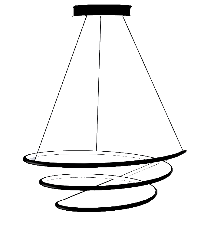 Luminaire à suspension led design spirale 88 w dimmable pourtour noir
