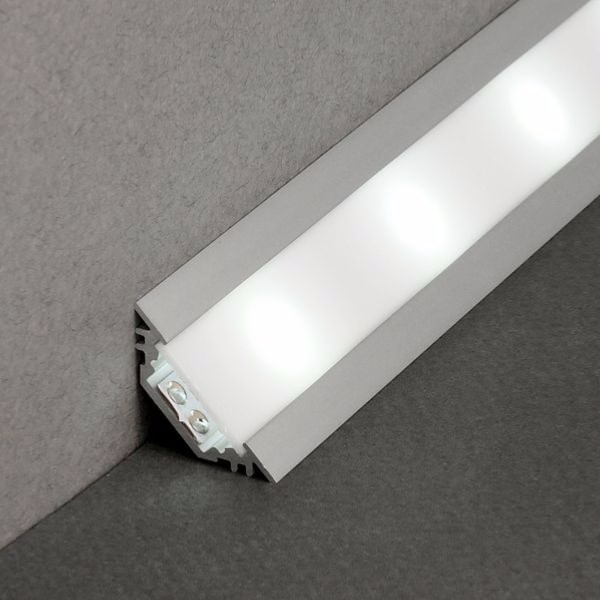 Kit profiles 2m led aluminium encastrable en angles pour for Carrelage adhesif salle de bain avec neon t8 led