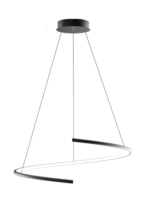Suspension led design spirale 33 w dimmable pourtour noir/blanc