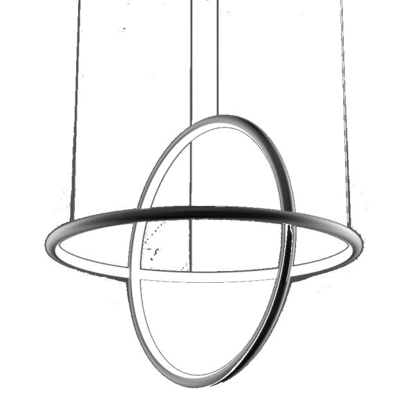 Suspension led design ronde 2 anneaux réglables 36 w dimmable