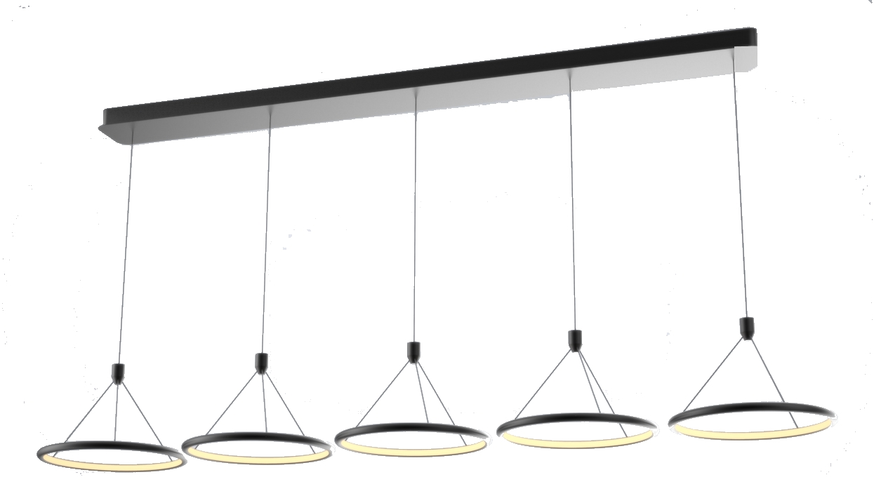 Suspension led design 90 w dimmable ( 5 cercles  alignés ) éclairage intérieur