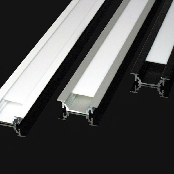 Kit profil s led aluminium encastrable 2m pour ruban de led for Profile aluminium noir