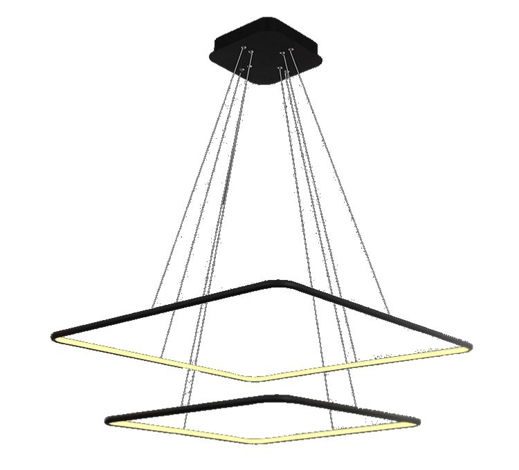 suspension led design carrée 2 anneaux