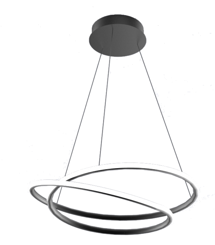Suspension luminaire led design spirale 47w dimmable Noir/blanc