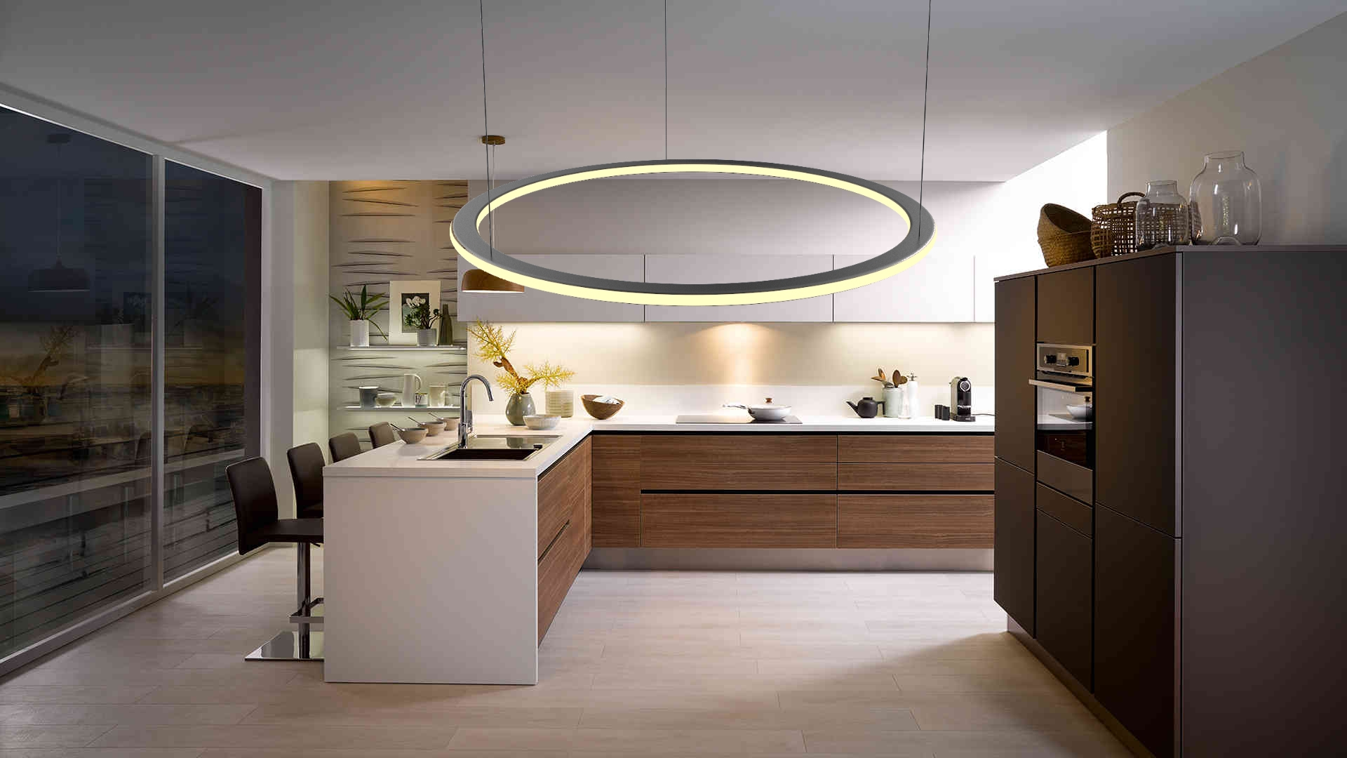 Eclairage A Suspension Led Design Cercle 45w Dimmable