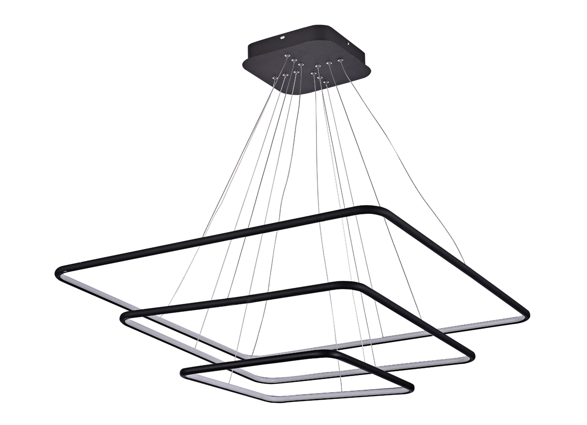 suspension led design carrée 3 anneaux